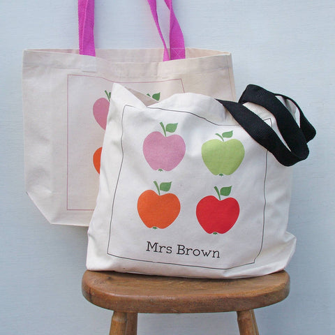 Bright Apple Personalised Tote Bag