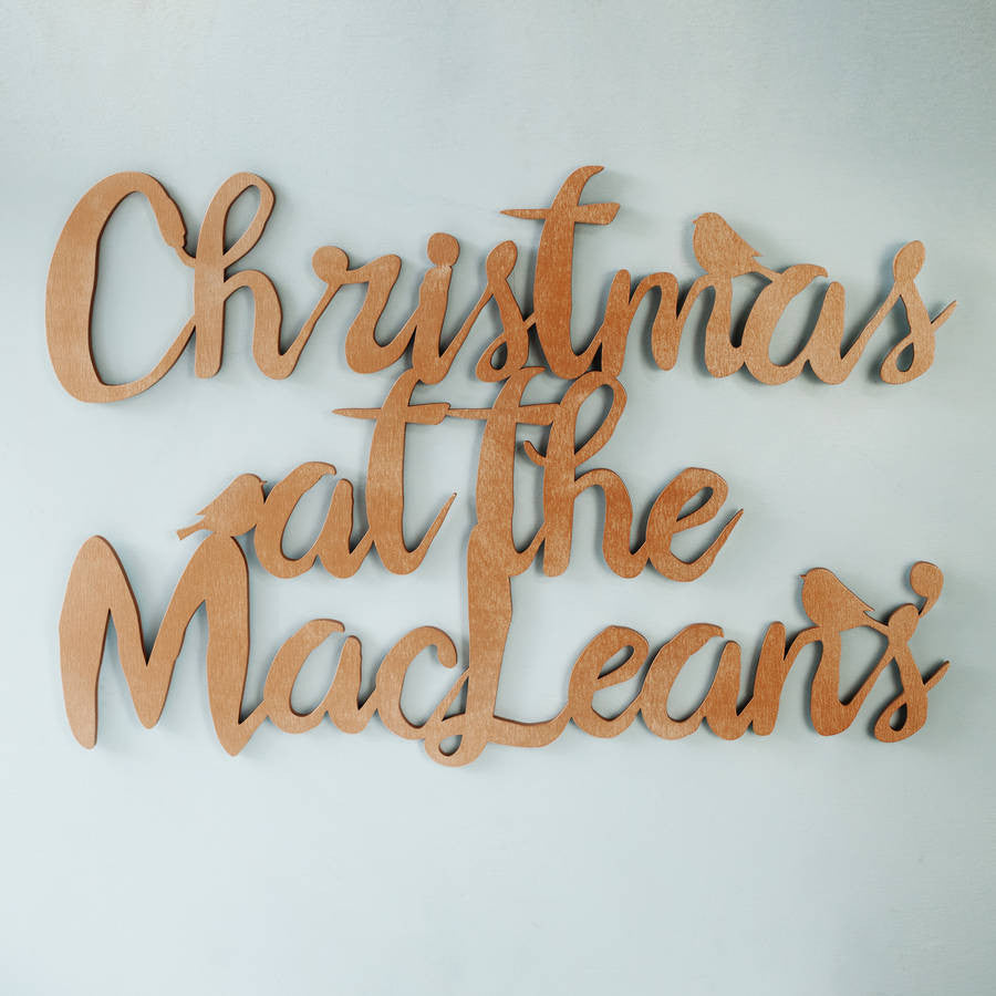 Christmas Metallic Wooden Wall Art
