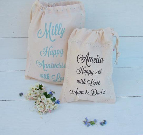 Personalised Message Cotton Gift Bag