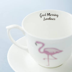 Flamingo And Message Bone China Cup And Saucer