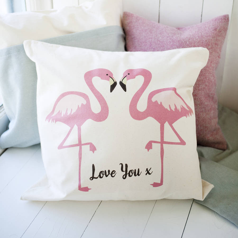 Flamingo Couple Cushion With Message