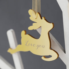 Golden Personalised Perspex Reindeer