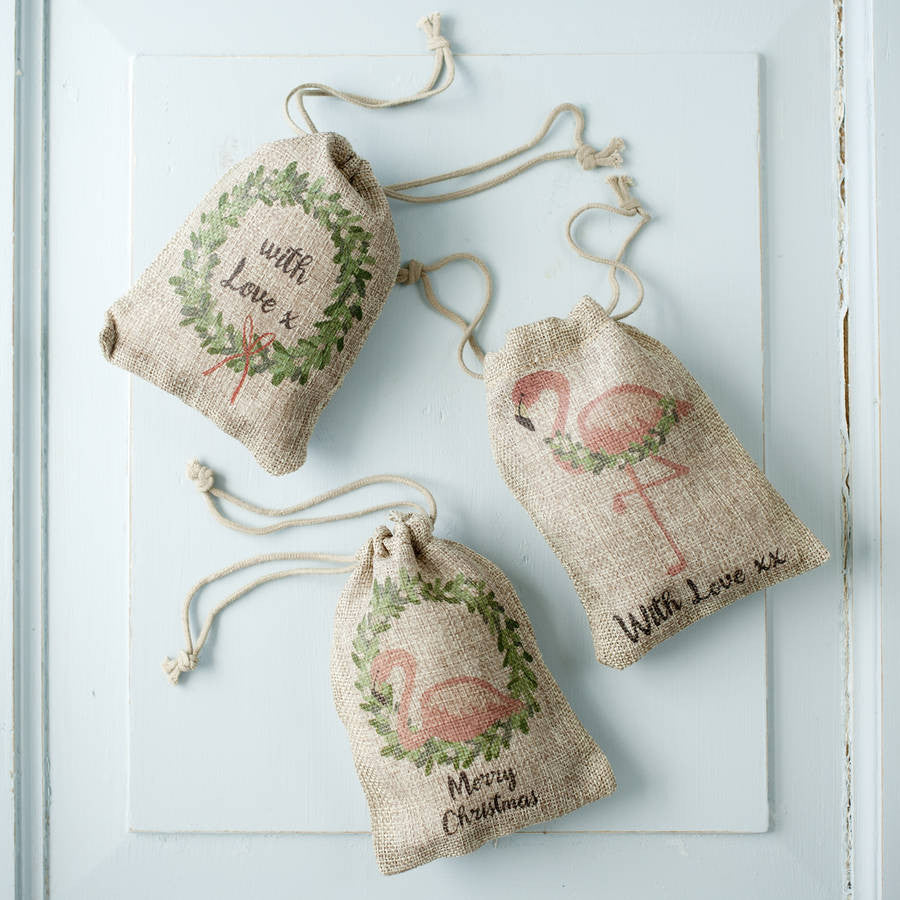 small hessian christmas bags