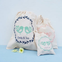 Lovebirds Printed Cotton Giftbag