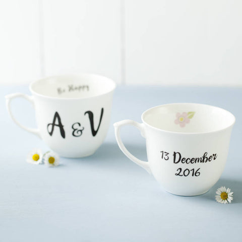 Pair Of Personalised Bone China Cups