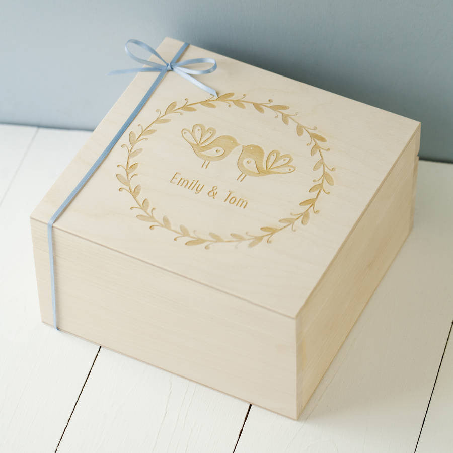 Personalised Love Birds Keepsake Box