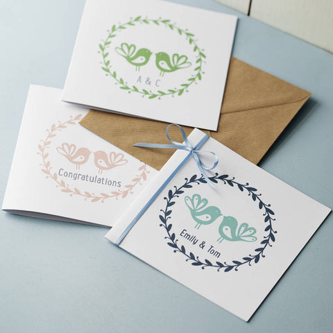 Personalised Love Birds Printed Card