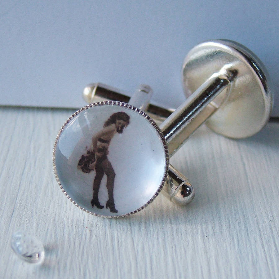 Personalised Saucy Pin Up Photograph Cufflinks