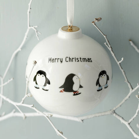 Skating Penguin Personalised China Bauble
