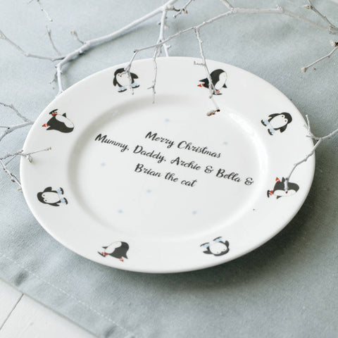 Skating Penguins Christmas Pudding Plate