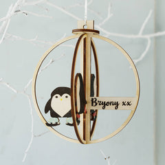 Skating Penguins Personalised 3D Wooden Bauble
