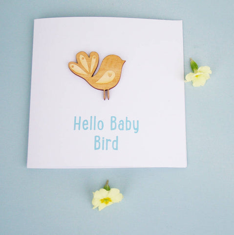 Wooden Baby Bird Card