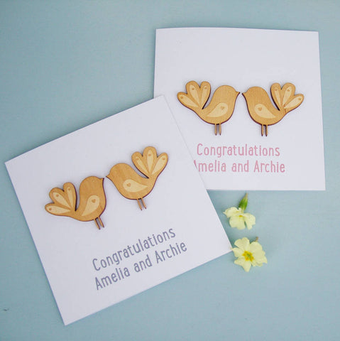 Wooden Love Birds Personalised Card