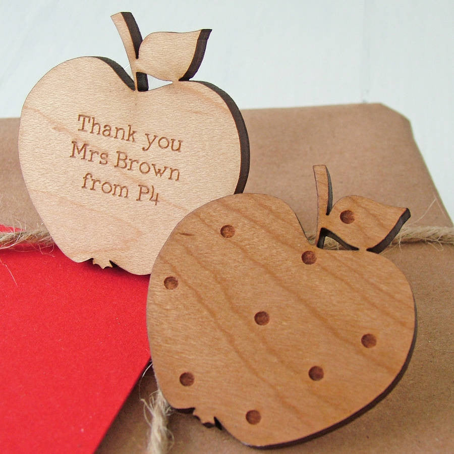 Wooden Apple Personalised Brooch