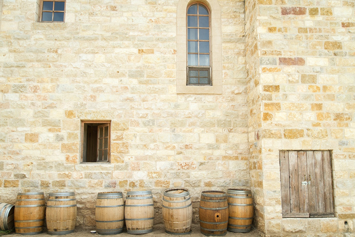 balsamic vinegar barrels in front of castle