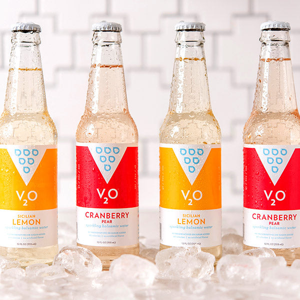 alternating flavors of v2o sparkling balsamic water