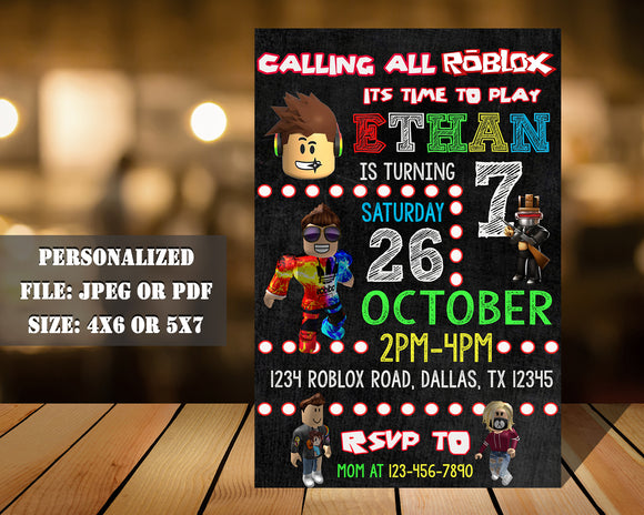 Roblox Birthday Party Invitation