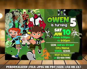 Ben 10 Birthday Party Invitation