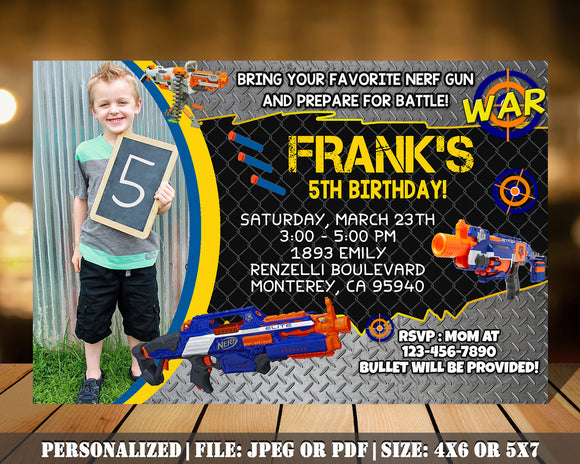Nerf Guns Birthday Party Invitation