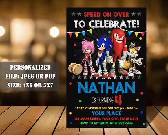 Sonic Birthday Party Invitation