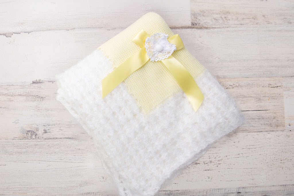 Baby Knitted Blanket Yellow