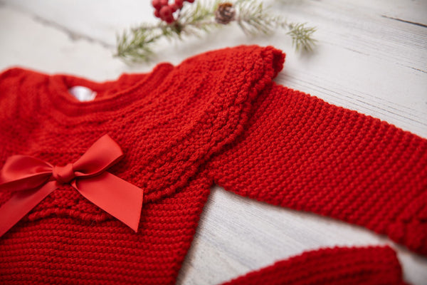 CANESU |  Red Baby Knitted Pants Set (3 pcs.)