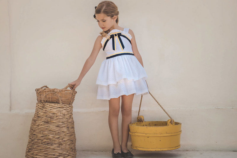 NAVY | Girls White Ruffle Dress