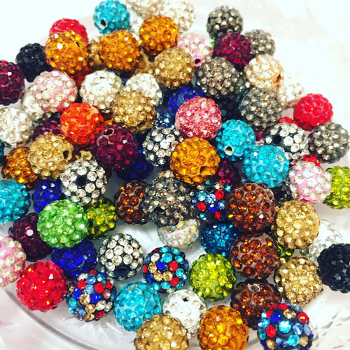 10mm Micro Pave Color Mix Beads