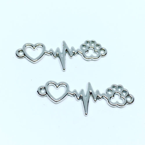 Heart EKG Puppy Love Connector Charms