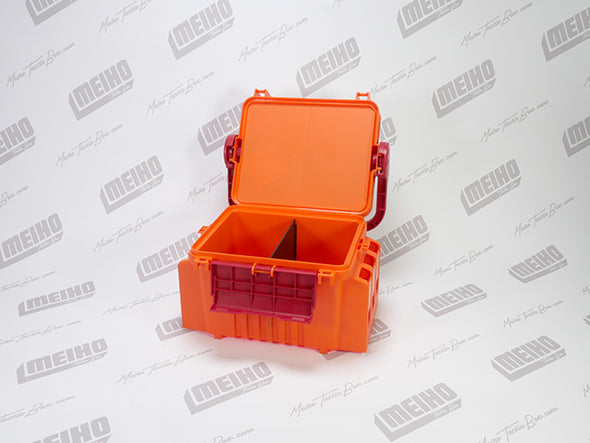 Orange Hinged Lid Plastic Fishing Tackle Box