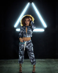 2-Piece Custom Zi-Up Crop Jacket and Draw String Joggers