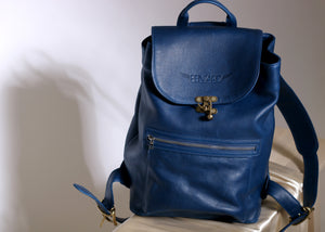 Blue Leather Pentard One-Pocket Travel Bag
