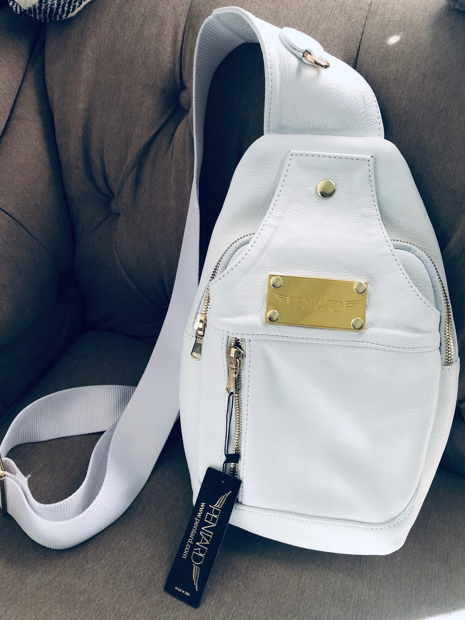 White Unisex Cross Body Bag