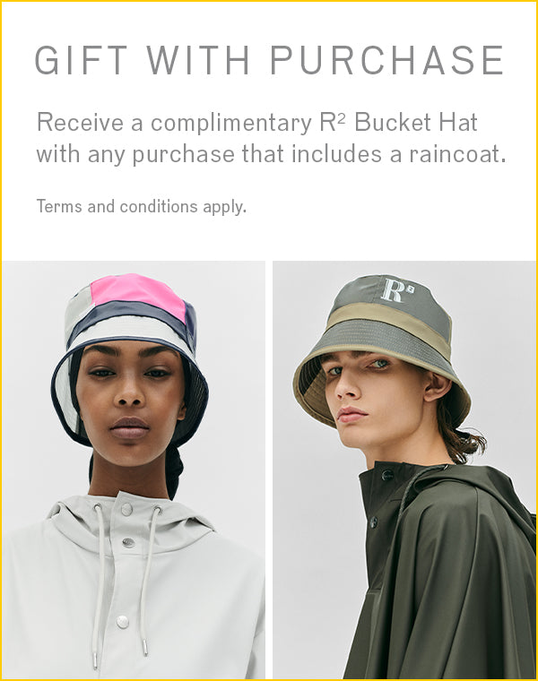 Get a limited edition bucket hat free of charge with any purchase that includes a raincoat