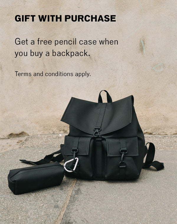 Get a free pencil case when you buy a backpack.