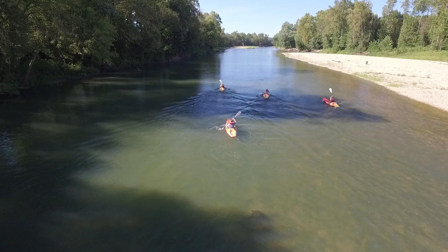 kayakers floating the illinois river near tahlequah oklahoma