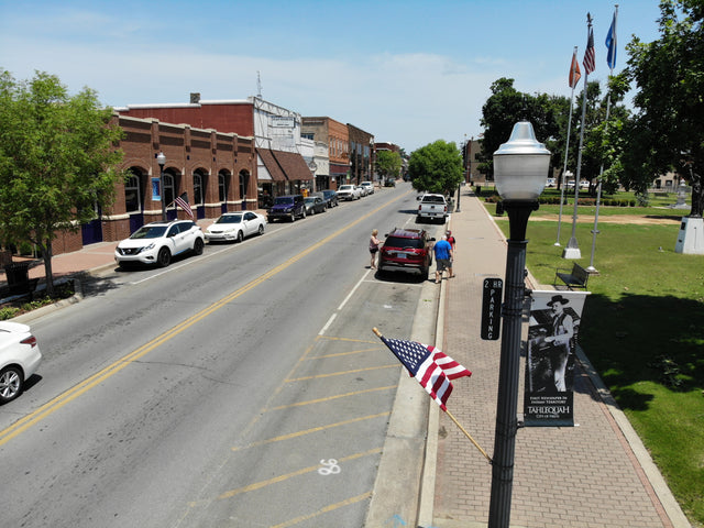 view of downtown tahlequah oklahoma on flag day