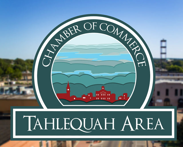 Tahlequah area chamber of commerce logo with downtown tahlequah oklahoma in the background