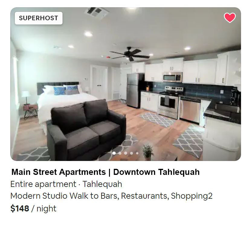 downtown airbnb apartment in tahlequah oklahoma