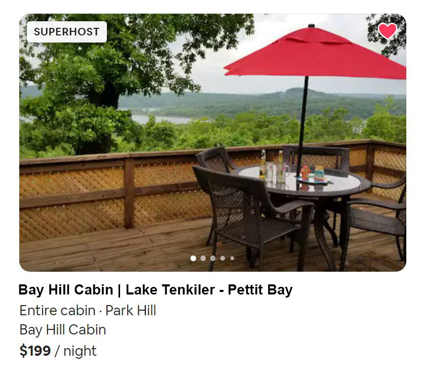 airbnb cabin at lake tenkiller near pettit bay and tahlequah