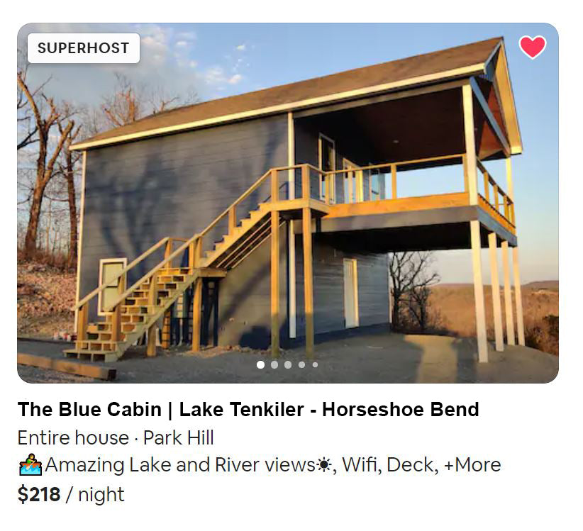 airbnb cabin at  lake tenkiller on horseshoe bend rd near tahlequah