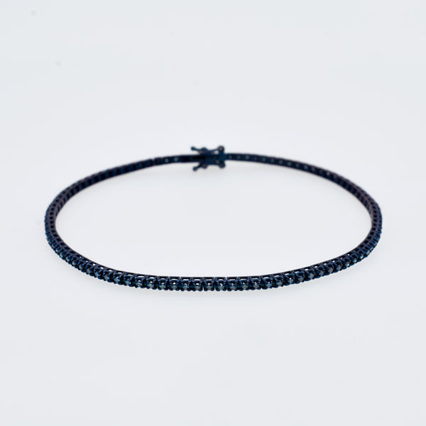 Slender Blue Diamond Tennis Bracelet in Oxidized Gold