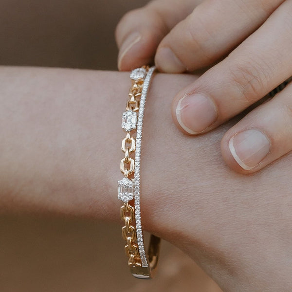 Stacked Eternity and Gold Chain Cuff Bracelet