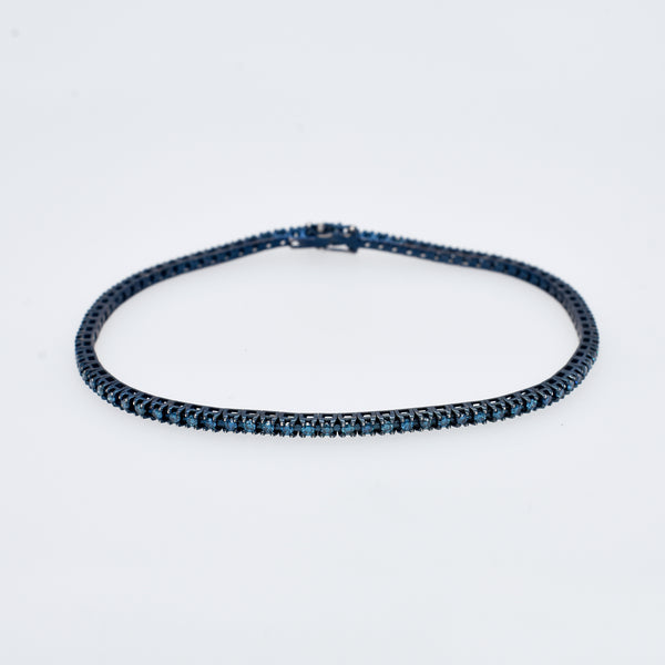 Blue Diamond Tennis Bracelet in Oxidized Gold