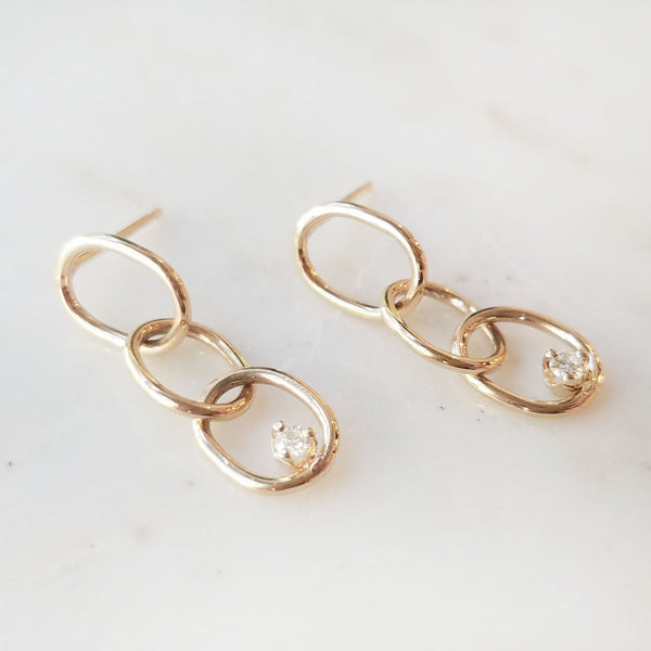 Chain Earrings with Diamond Accent