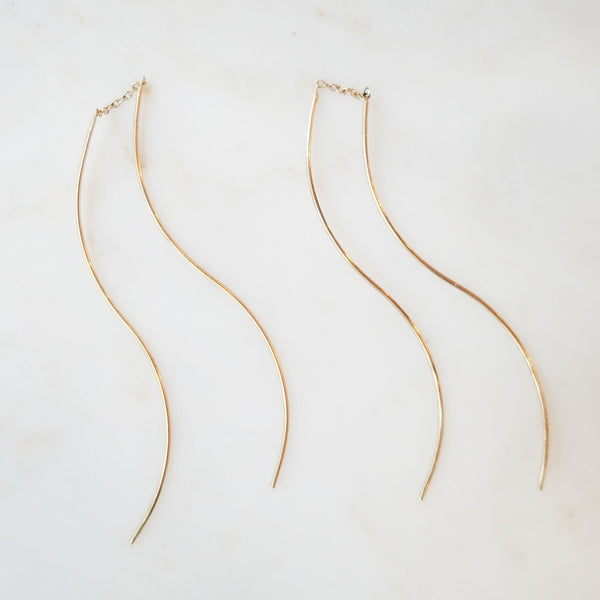Long Curved Thread Through Earrings