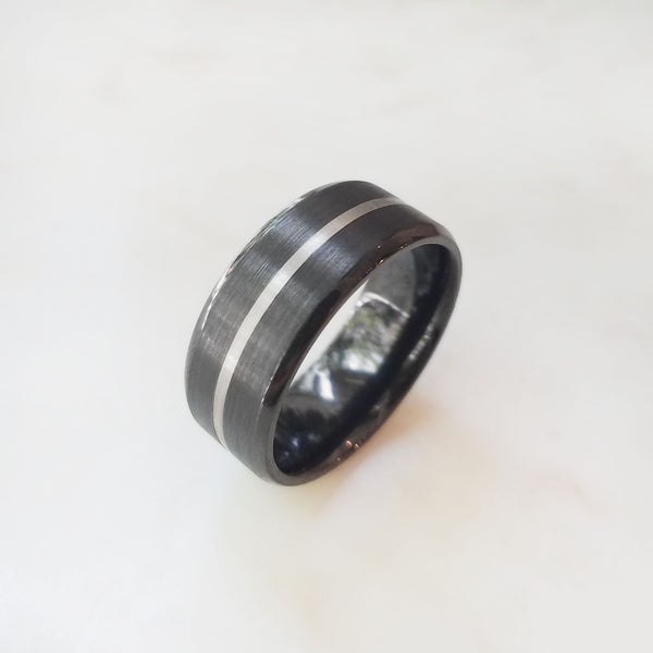 Zirconium with White Gold Inlay Band