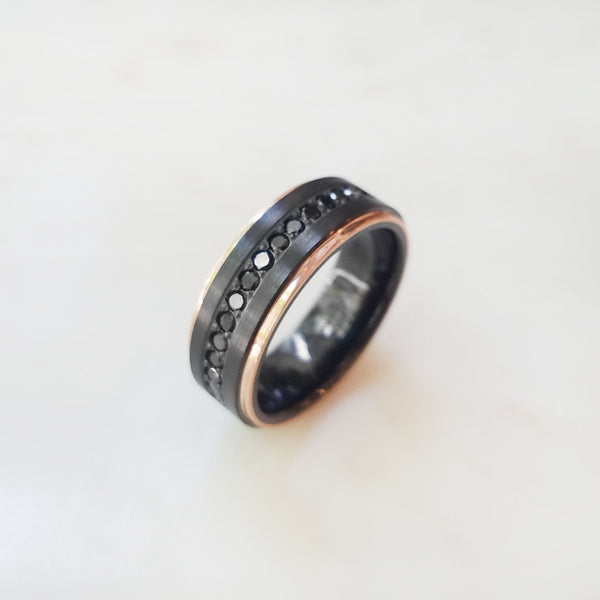 Black Diamond Rose Gold and Zirconium Band
