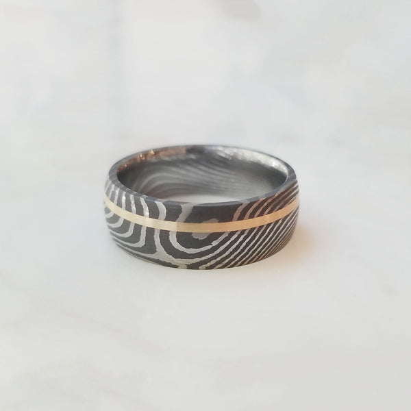 Domed Damascus Steel with 14k Inlay Band