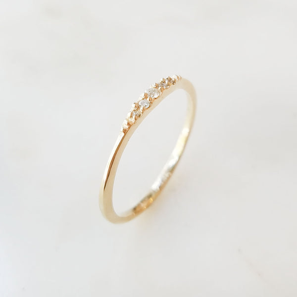 Gold Flamenco Ring with White Diamonds